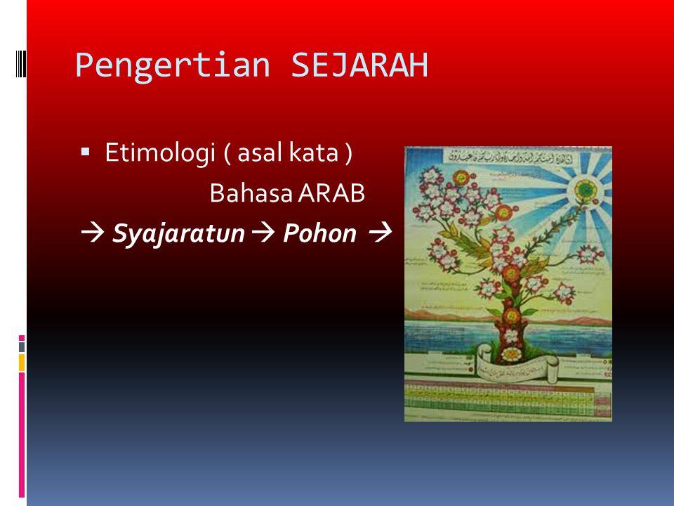 Pengertian SEJARAH  Etimologi ( asal kata ) Bahasa ARAB  Syajaratun  Pohon 