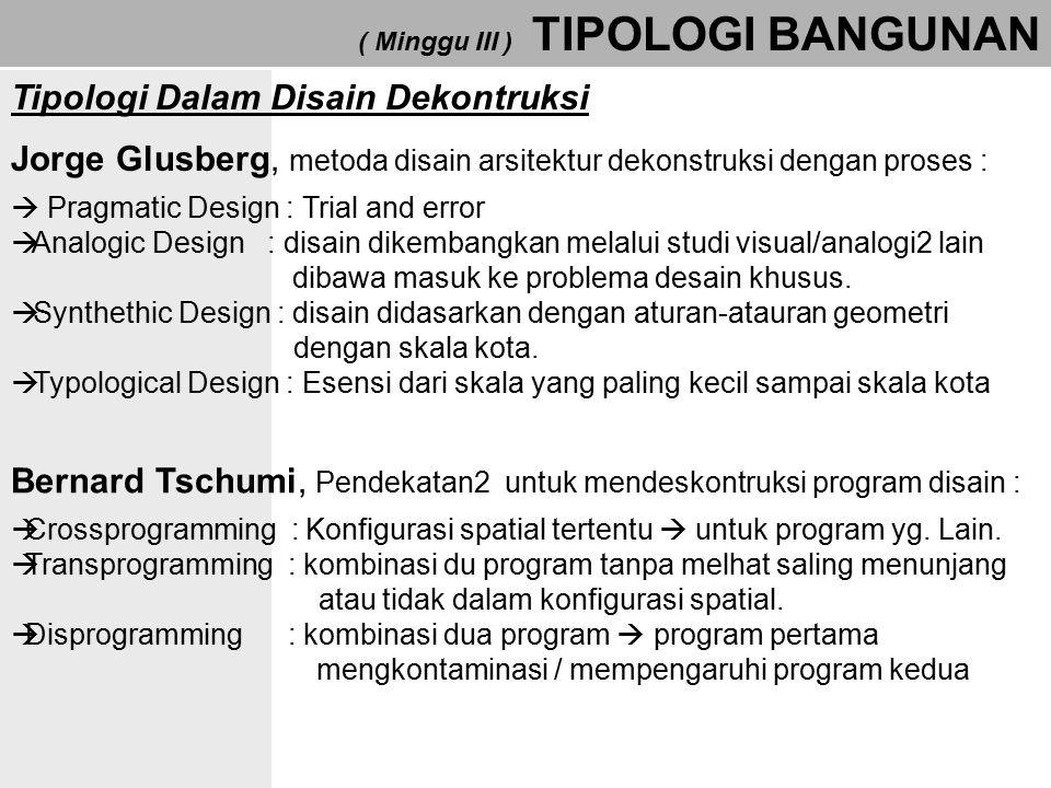 ( Minggu III ) TIPOLOGI BANGUNAN Jorge Glusberg, metoda disain arsitektur dekonstruksi dengan proses :  Pragmatic Design : Trial and error  Analogic