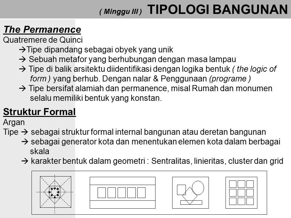 ( Minggu III ) TIPOLOGI BANGUNAN Type – Image / Tipe Citra Venturi  Tipe harus direduksi menjadi imaji/citra  Kesamaan imaji komunikasi dapat terbentuk suatu tipe.