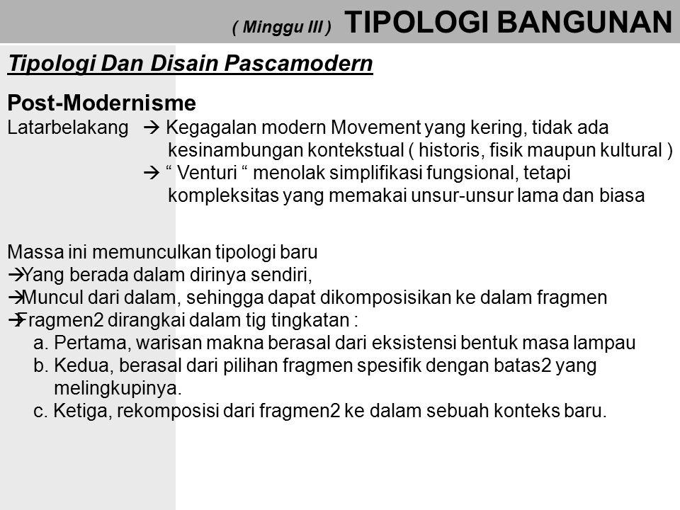 ( Minggu III ) TIPOLOGI BANGUNAN Tipologi Dan Disain Pascamodern Post-Modernisme Latarbelakang  Kegagalan modern Movement yang kering, tidak ada kesi