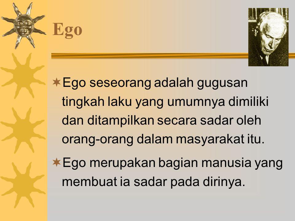 Ego  Ego seseorang adalah gugusan tingkah laku yang umumnya dimiliki dan ditampilkan secara sadar oleh orang-orang dalam masyarakat itu.