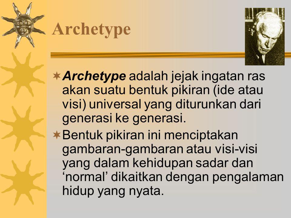 Archetype  Archetype adalah jejak ingatan ras akan suatu bentuk pikiran (ide atau visi) universal yang diturunkan dari generasi ke generasi.