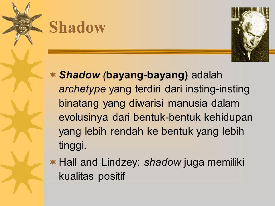 Shadow  Shadow (bayang-bayang) adalah archetype yang terdiri dari insting-insting binatang yang diwarisi manusia dalam evolusinya dari bentuk-bentuk kehidupan yang lebih rendah ke bentuk yang lebih tinggi.