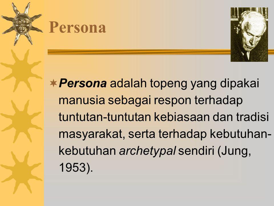 Persona  Persona adalah topeng yang dipakai manusia sebagai respon terhadap tuntutan-tuntutan kebiasaan dan tradisi masyarakat, serta terhadap kebutuhan- kebutuhan archetypal sendiri (Jung, 1953).