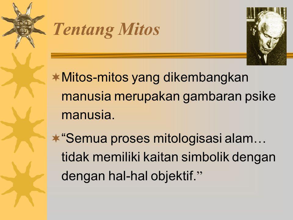 Tentang Mitos  Mitos-mitos yang dikembangkan manusia merupakan gambaran psike manusia.