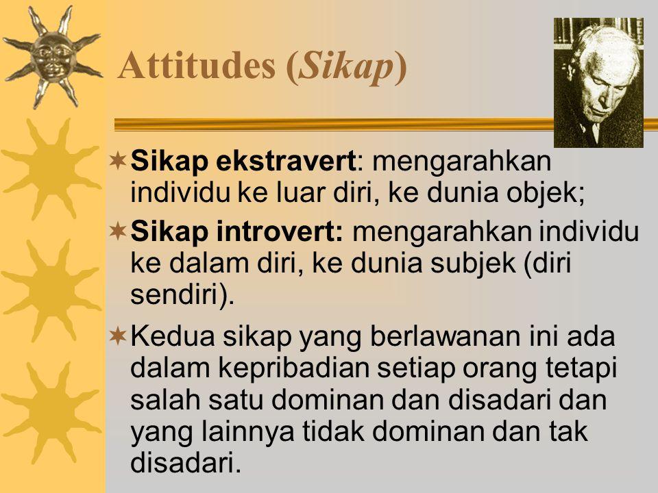 Attitudes (Sikap)  Sikap ekstravert: mengarahkan individu ke luar diri, ke dunia objek;  Sikap introvert: mengarahkan individu ke dalam diri, ke dunia subjek (diri sendiri).