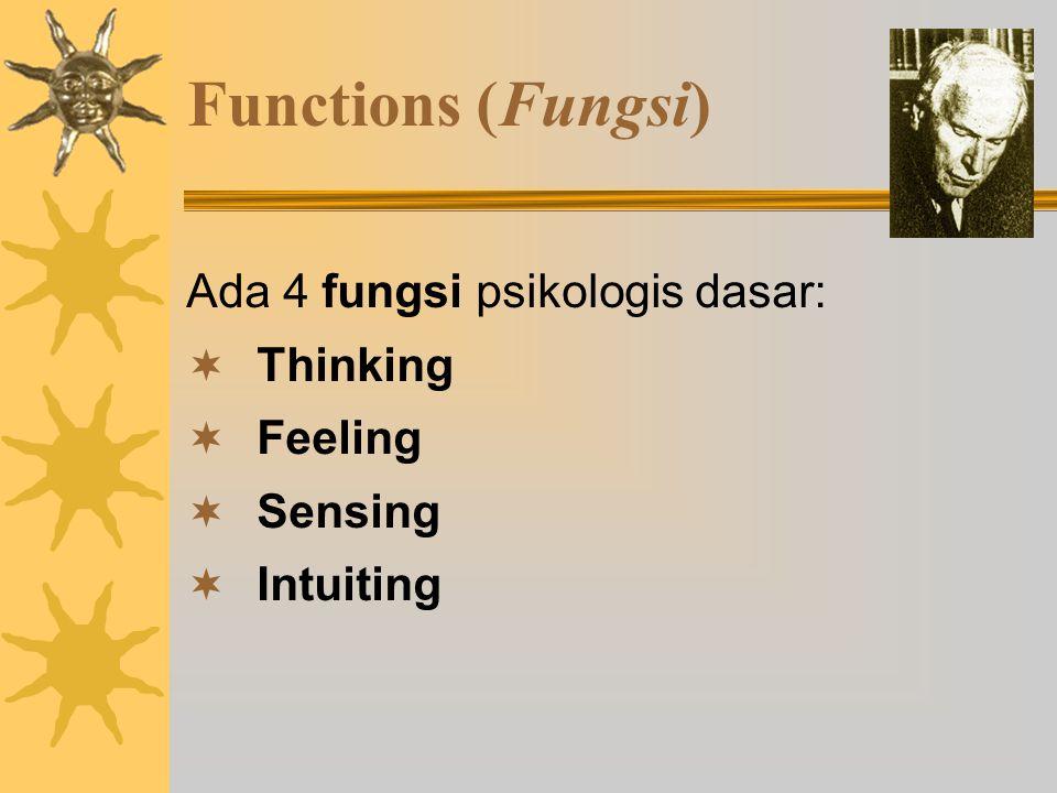 Functions (Fungsi) Ada 4 fungsi psikologis dasar:  Thinking  Feeling  Sensing  Intuiting