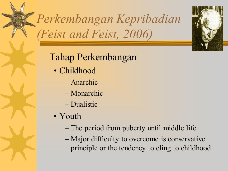 Perkembangan Kepribadian (Feist and Feist, 2006) –Tahap Perkembangan Childhood –Anarchic –Monarchic –Dualistic Youth –The period from puberty until mi
