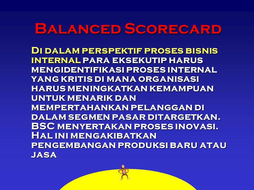 Balanced Scorecard Di dalam perspektif proses bisnis internal para eksekutip harus mengidentifikasi proses internal yang kritis di mana organisasi har