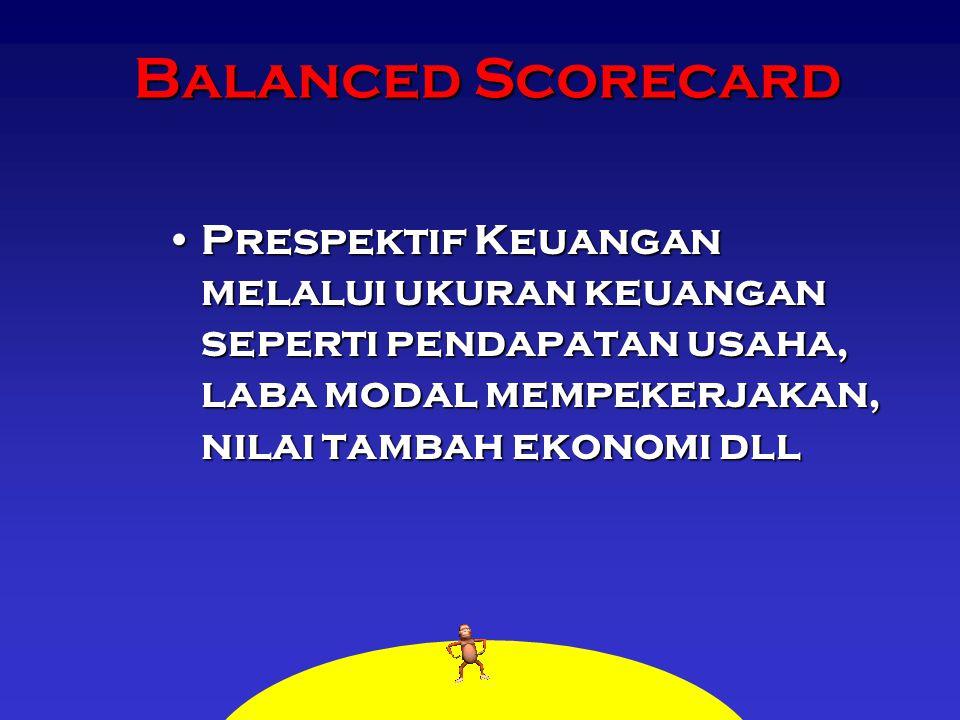 Balanced Scorecard Prespektif Keuangan melalui ukuran keuangan seperti pendapatan usaha, laba modal mempekerjakan, nilai tambah ekonomi dllPrespektif Keuangan melalui ukuran keuangan seperti pendapatan usaha, laba modal mempekerjakan, nilai tambah ekonomi dll