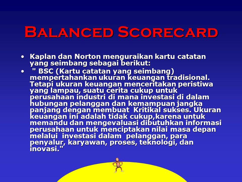 Balanced Scorecard Kaplan dan Norton menguraikan kartu catatan yang seimbang sebagai berikut:Kaplan dan Norton menguraikan kartu catatan yang seimbang sebagai berikut: BSC (Kartu catatan yang seimbang) mempertahankan ukuran keuangan tradisional.