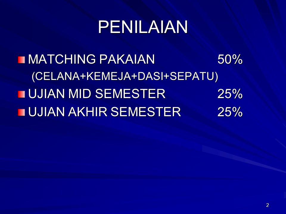 2 PENILAIAN MATCHING PAKAIAN50% (CELANA+KEMEJA+DASI+SEPATU) UJIAN MID SEMESTER25% UJIAN AKHIR SEMESTER25%