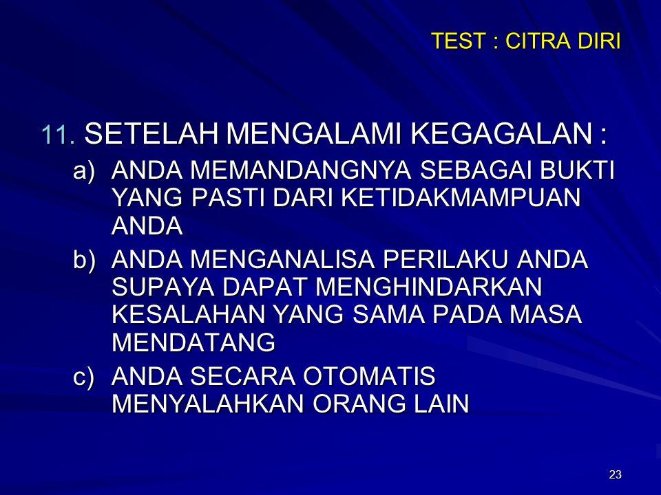 23 TEST : CITRA DIRI 11. SETELAH MENGALAMI KEGAGALAN : a)ANDA MEMANDANGNYA SEBAGAI BUKTI YANG PASTI DARI KETIDAKMAMPUAN ANDA b)ANDA MENGANALISA PERILA