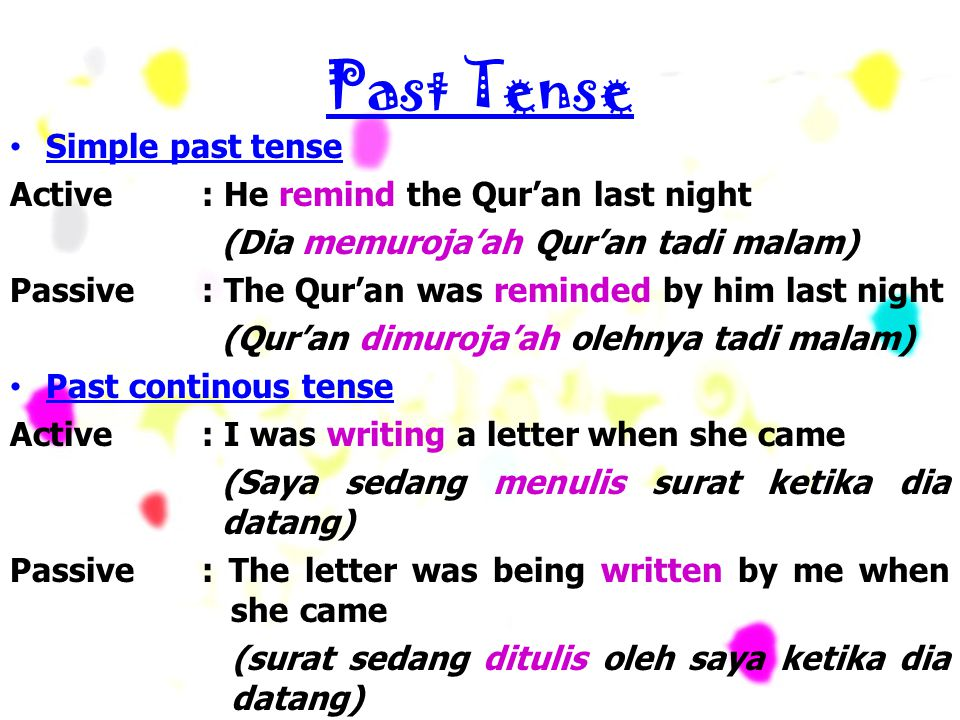 Past Tense Simple past tense Active : He remind the Qur'an last night (Dia memuroja'ah Qur'an tadi malam) Passive : The Qur'an was reminded by him las