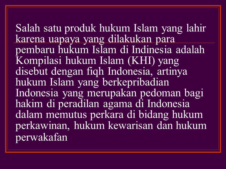 Tokoh-tokoh pembaru hukum Islam ini telah banyak berjasa dalam perkembangan hukum Islam di Indonesia terutama dalam hal memasukkan nilai-nilai hukum Islam ke dalam legislasi nasional dan juga ide lahirnya beberapa perundang- undangan untuk dipergunakan oleh umat Islam pada khususnya dan warga negara Indonesia pada umumnya