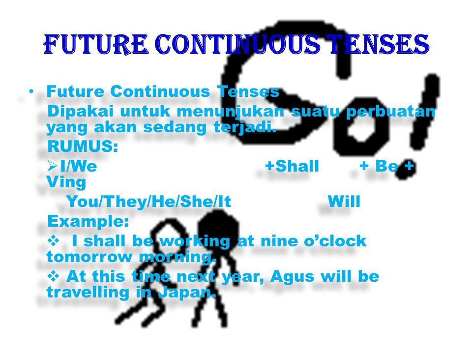 Present Continuous Tenses Menerangkan suatu perbuatan yang sedang berlangsung pada waktu sekarang.