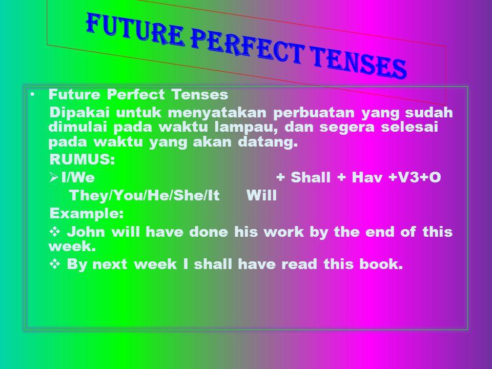 PRESENT PERFECT TENSES Present Perfect Tenses Menerangkan peristiwa yang telah terjadi pada waktu lampau yang masih ada hubungannya dengan masa sekarang namun waktu terjadinya tidak jelas diketahui.