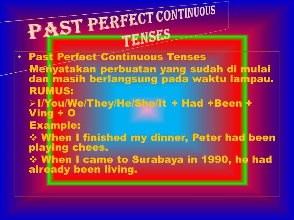 Future Perfect Tenses Dipakai untuk menyatakan perbuatan yang sudah dimulai pada waktu lampau, dan segera selesai pada waktu yang akan datang.