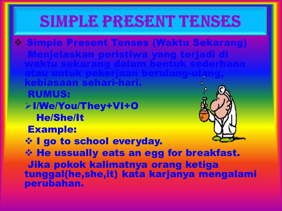 SIMPLE PAST TENSES Simple Past Tenses (lampau) Menerangkan peristiwa yang terjadi, atau tindakan kegiatan, perbuatan dan pekerjaan yang dilakukan pada waktu lampau dalam bentuk sederhana dan diketahui pula waktu terjadinya peristiwa yang dilakukan itu.