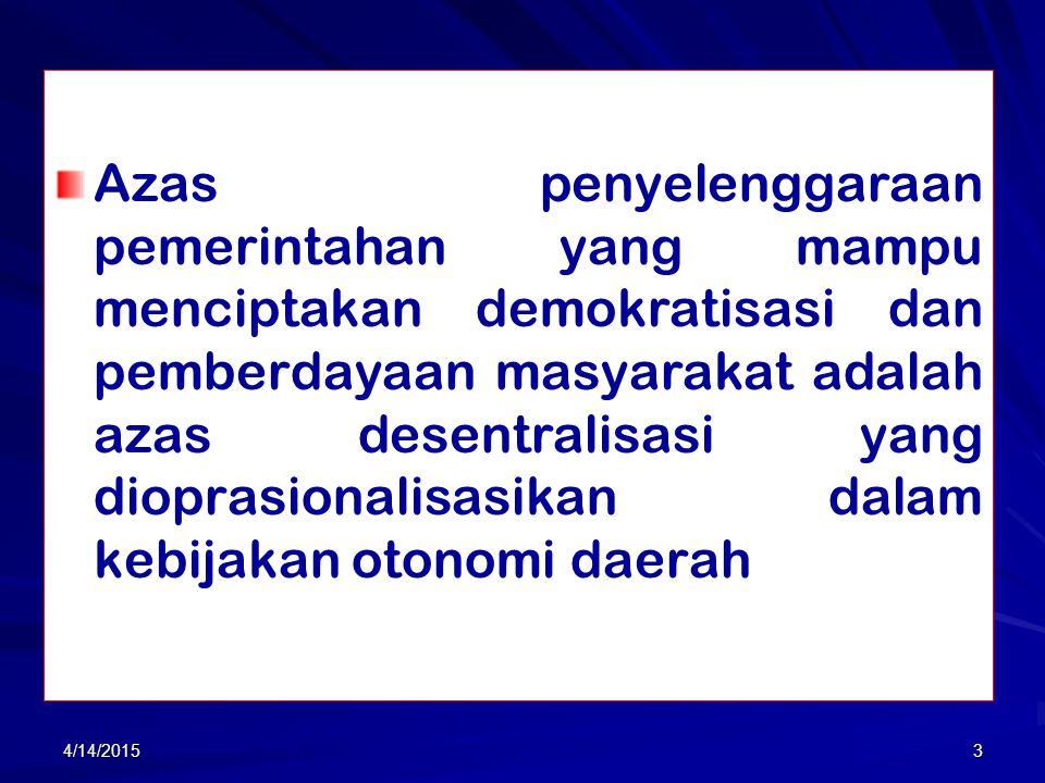 2 1. PENGANTAR Dalam penyelenggaraan pemerintahan daerah, demokrasi dan pemberdayaan masyarakat lokal menjadi wacana publik yang menuntut pengalokasia