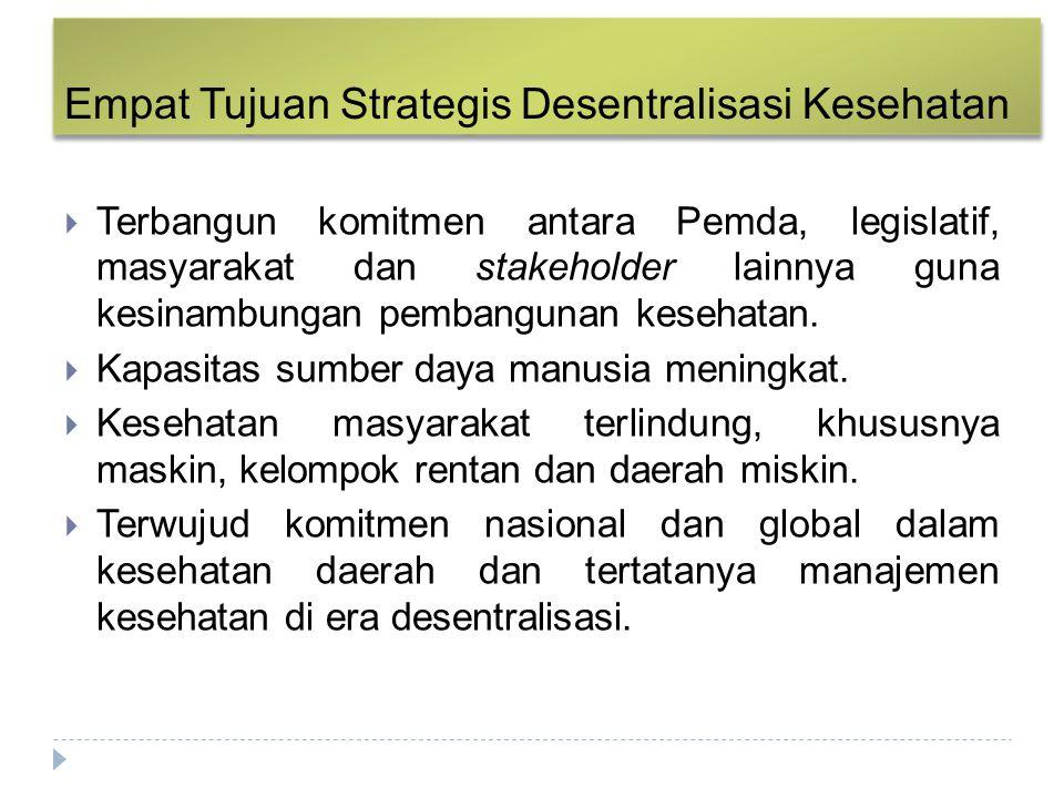 Empat Tujuan Strategis Desentralisasi Kesehatan  Terbangun komitmen antara Pemda, legislatif, masyarakat dan stakeholder lainnya guna kesinambungan p