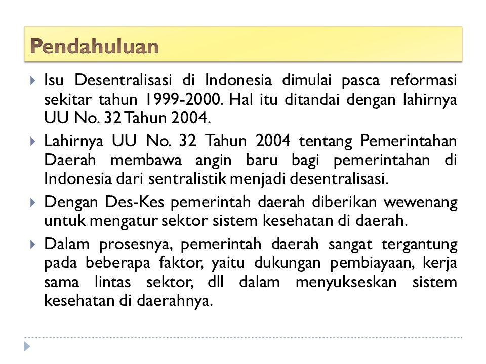  Isu Desentralisasi di Indonesia dimulai pasca reformasi sekitar tahun 1999-2000. Hal itu ditandai dengan lahirnya UU No. 32 Tahun 2004.  Lahirnya U