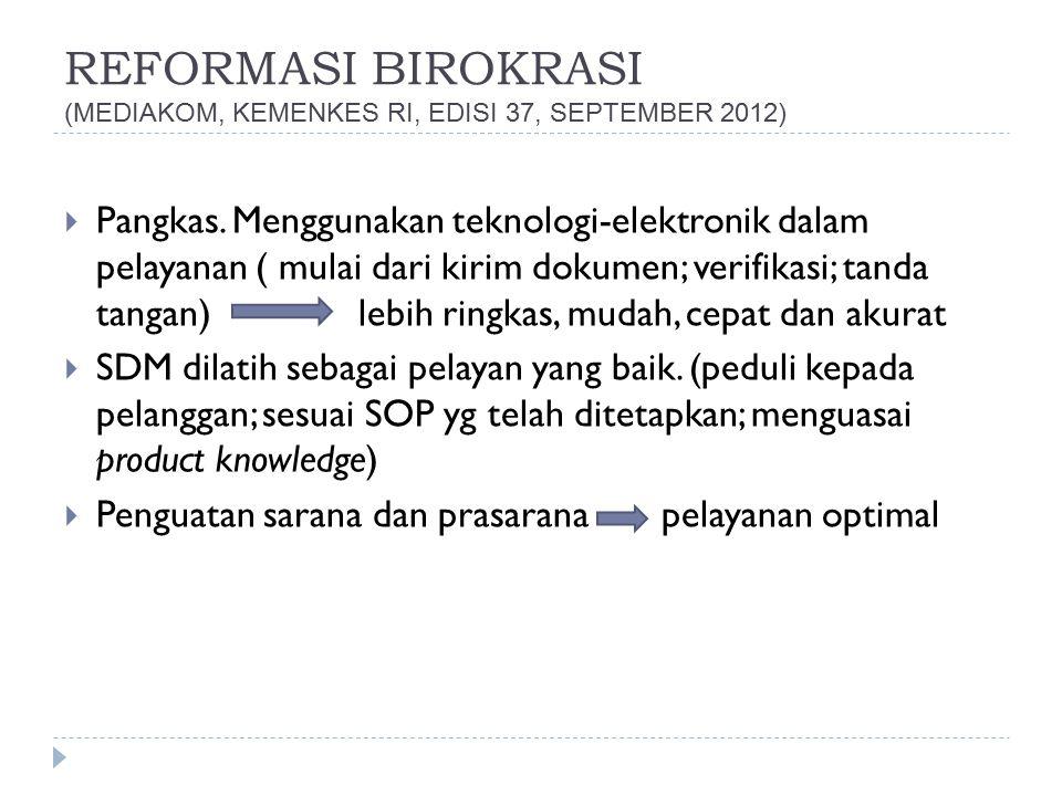 REFORMASI BIROKRASI (MEDIAKOM, KEMENKES RI, EDISI 37, SEPTEMBER 2012)  Pangkas. Menggunakan teknologi-elektronik dalam pelayanan ( mulai dari kirim d