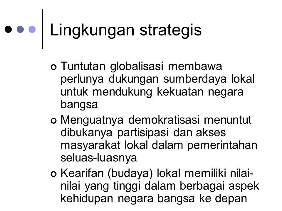 Lingkungan strategis Tuntutan globalisasi membawa perlunya dukungan sumberdaya lokal untuk mendukung kekuatan negara bangsa Menguatnya demokratisasi m