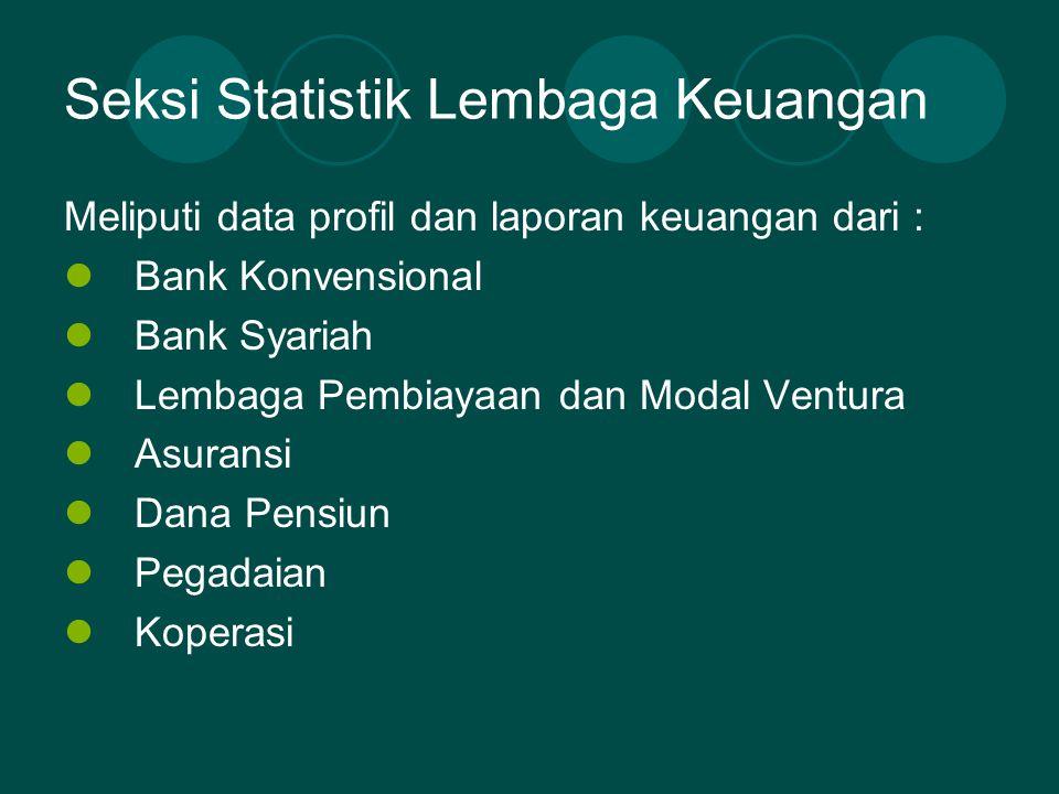 Seksi Badan Usaha dan Pasar Modal Meliputi : Profil dan statistik pasar modal Profil dan statistik BUMN/BUMD Perkembangan harga mingguan valuta asing pada 33 provinsi