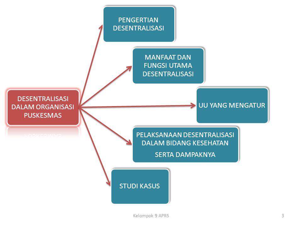 DESENTRALISASI DALAM ORGANISASI PUSKESMAS PENGERTIAN DESENTRALISASI MANFAAT DAN FUNGSI UTAMA DESENTRALISASI UU YANG MENGATUR PELAKSANAAN DESENTRALISASI DALAM BIDANG KESEHATAN SERTA DAMPAKNYA STUDI KASUS 3Kelompok 9 APRS