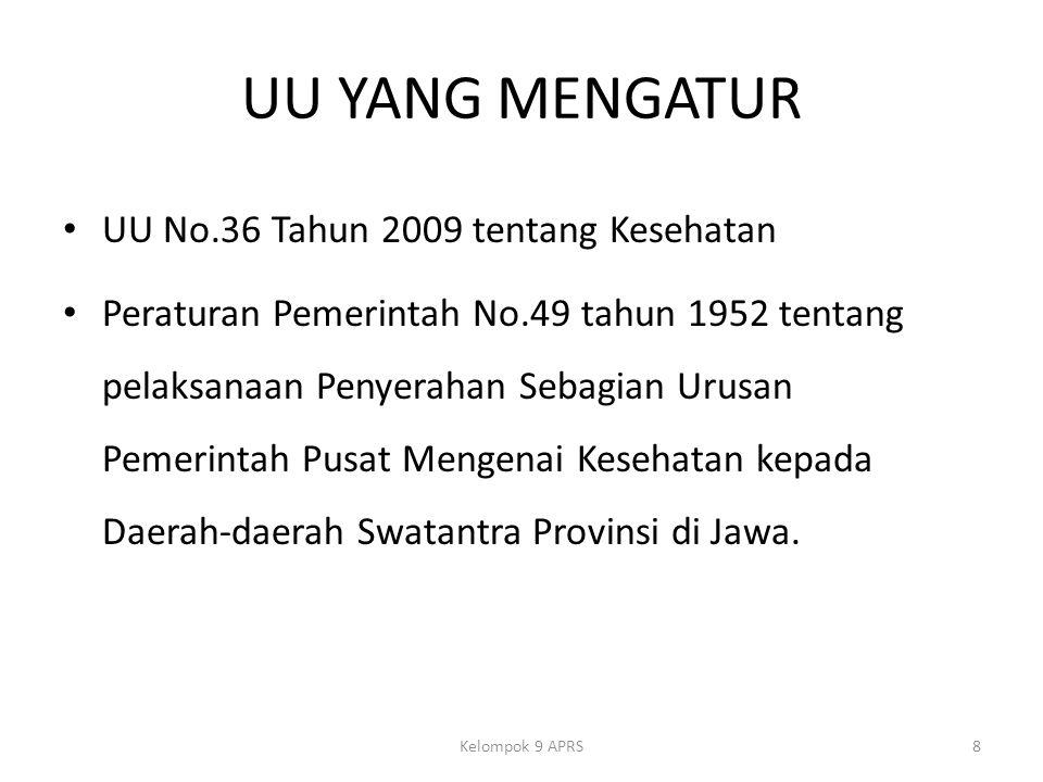 UU YANG MENGATUR UU No.36 Tahun 2009 tentang Kesehatan Peraturan Pemerintah No.49 tahun 1952 tentang pelaksanaan Penyerahan Sebagian Urusan Pemerintah Pusat Mengenai Kesehatan kepada Daerah-daerah Swatantra Provinsi di Jawa.
