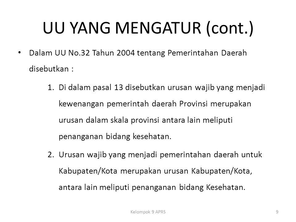 UU YANG MENGATUR (cont.) Dalam UU No.32 Tahun 2004 tentang Pemerintahan Daerah disebutkan : 1.Di dalam pasal 13 disebutkan urusan wajib yang menjadi kewenangan pemerintah daerah Provinsi merupakan urusan dalam skala provinsi antara lain meliputi penanganan bidang kesehatan.