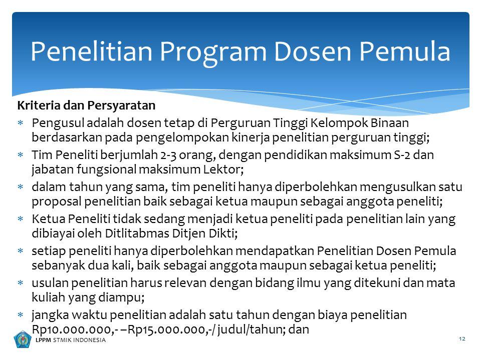 LPPM STMIK INDONESIA Kriteria dan Persyaratan  Pengusul adalah dosen tetap di Perguruan Tinggi Kelompok Binaan berdasarkan pada pengelompokan kinerja