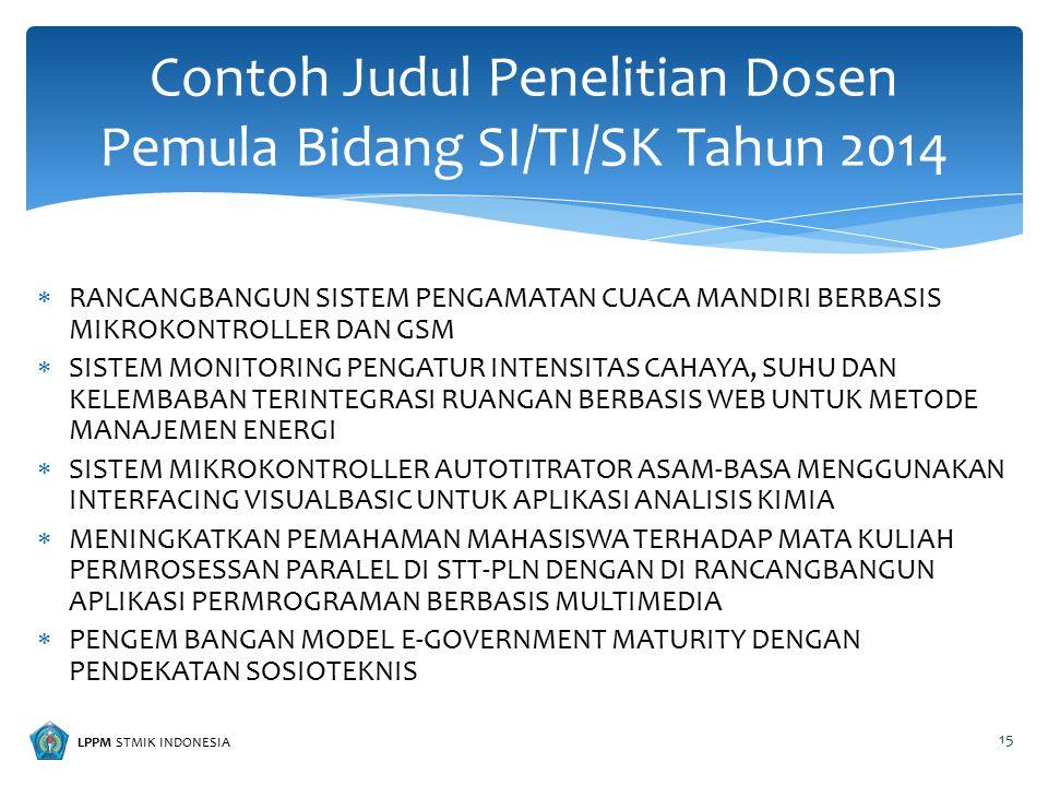 LPPM STMIK INDONESIA  RANCANGBANGUN SISTEM PENGAMATAN CUACA MANDIRI BERBASIS MIKROKONTROLLER DAN GSM  SISTEM MONITORING PENGATUR INTENSITAS CAHAYA,