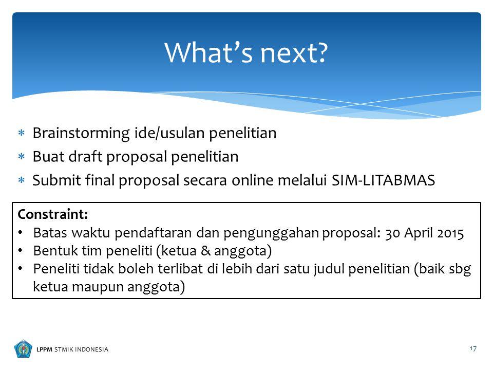 LPPM STMIK INDONESIA  Brainstorming ide/usulan penelitian  Buat draft proposal penelitian  Submit final proposal secara online melalui SIM-LITABMAS