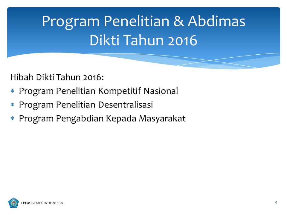 LPPM STMIK INDONESIA a.Penelitian Unggulan Strategis Nasional (PUSNAS) b.Riset Andalan Perguruan Tinggi dan Industri (RAPID) c.Penelitian Kerjasama Luar Negeri dan Publikasi Internasional (KLN) d.Penelitian Kompetensi (HIKOM) e.Penelitian Strategis Nasional (STRANAS) f.Penelitian Masterplan Percepatan dan Perluasan Pembangunan Ekonomi Indonesia (MP3EI) g.Penelitian Tim Pascasarjana (PPS) h.Penelitian Fundamental (PF) i.Penelitian Disertasi Doktor (PDD) Program Penelitian Kompetitif Nasional 5