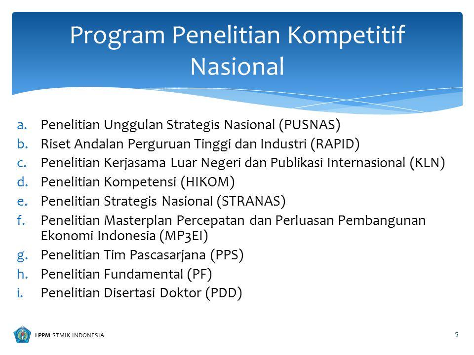LPPM STMIK INDONESIA a.Penelitian Unggulan Perguruan Tinggi (PUPT) b.Penelitian Hibah Bersaing (PHB) c.Penelitian Kerjasama antar Perguruan Tinggi (PEKERTI) d.Penelitian Dosen Pemula (PDP) Program Desentralisasi 6