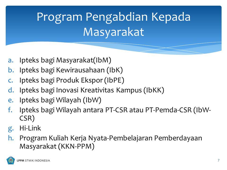 LPPM STMIK INDONESIA a.Ipteks bagi Masyarakat(IbM) b.Ipteks bagi Kewirausahaan (IbK) c.Ipteks bagi Produk Ekspor (IbPE) d.Ipteks bagi Inovasi Kreativi