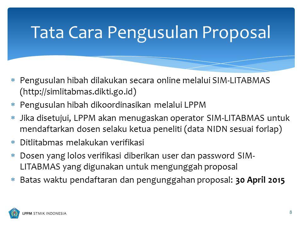 LPPM STMIK INDONESIA  Pengusulan hibah dilakukan secara online melalui SIM-LITABMAS (http://simlitabmas.dikti.go.id)  Pengusulan hibah dikoordinasik