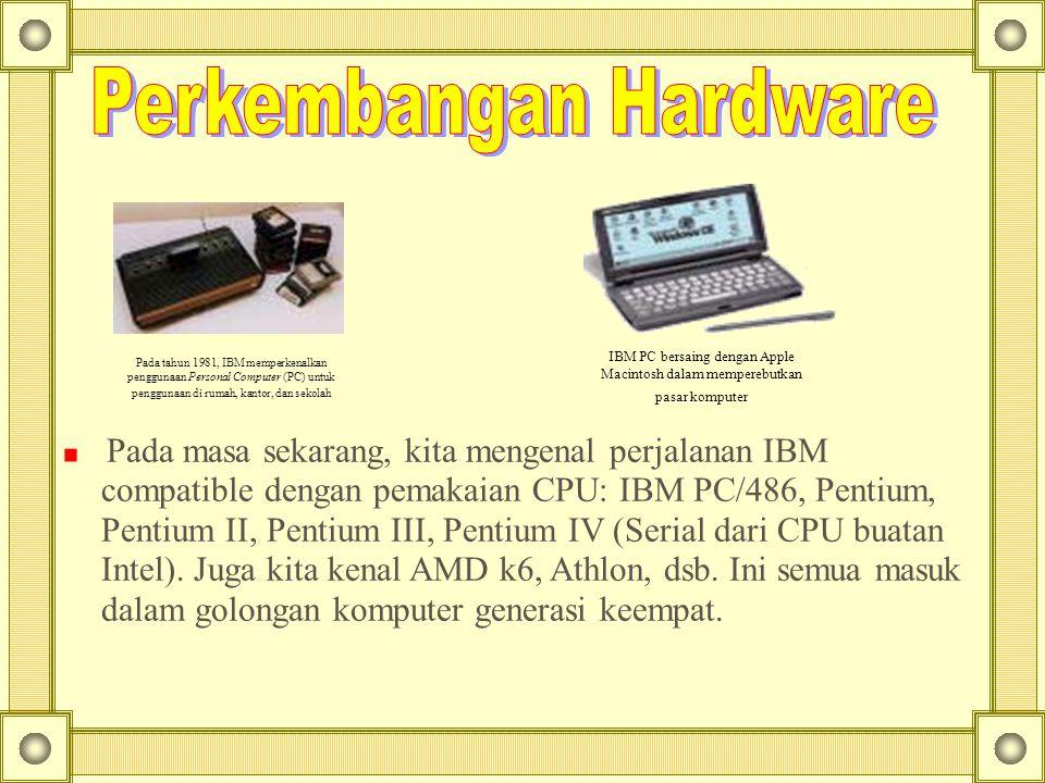 Pada tahun 1981, IBM memperkenalkan penggunaan Personal Computer (PC) untuk penggunaan di rumah, kantor, dan sekolah IBM PC bersaing dengan Apple Maci