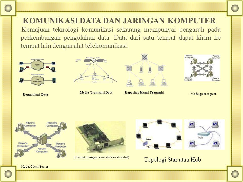 Komunikasi Data Media Transmisi Data Kapasitas Kanal Transmisi. Model peer to peer Model Client/Server Ethernet menggunaan satu kawat (kabel) Topologi