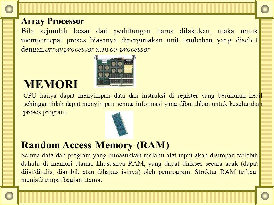 Array Processor Bila sejumlah besar dari perhitungan harus dilakukan, maka untuk mempercepat proses biasanya dipergunakan unit tambahan yang disebut d