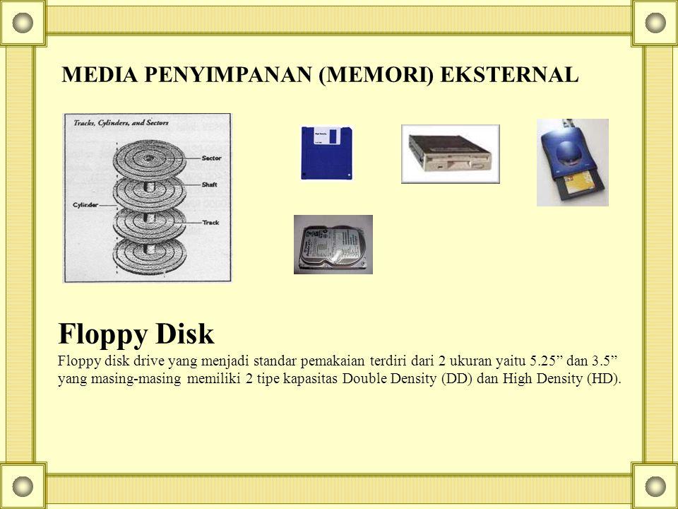 """MEDIA PENYIMPANAN (MEMORI) EKSTERNAL Floppy Disk Floppy disk drive yang menjadi standar pemakaian terdiri dari 2 ukuran yaitu 5.25"""" dan 3.5"""" yang masi"""