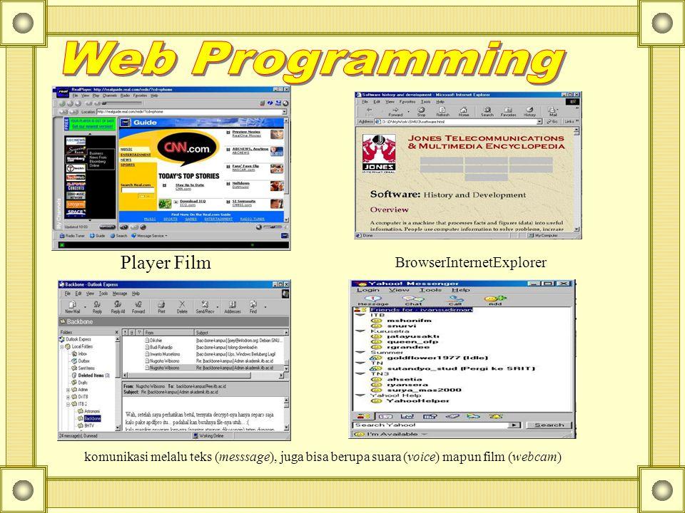 BrowserInternetExplorer Player Film komunikasi melalu teks (messsage), juga bisa berupa suara (voice) mapun film (webcam)