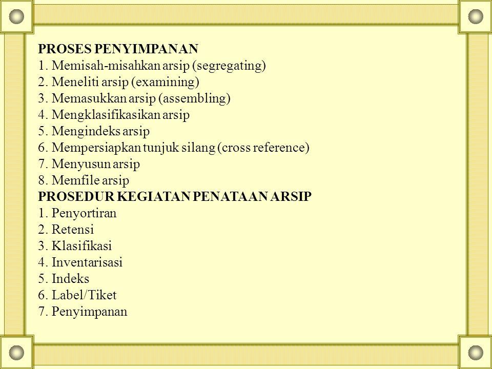 PROSES PENYIMPANAN 1. Memisah-misahkan arsip (segregating) 2. Meneliti arsip (examining) 3. Memasukkan arsip (assembling) 4. Mengklasifikasikan arsip
