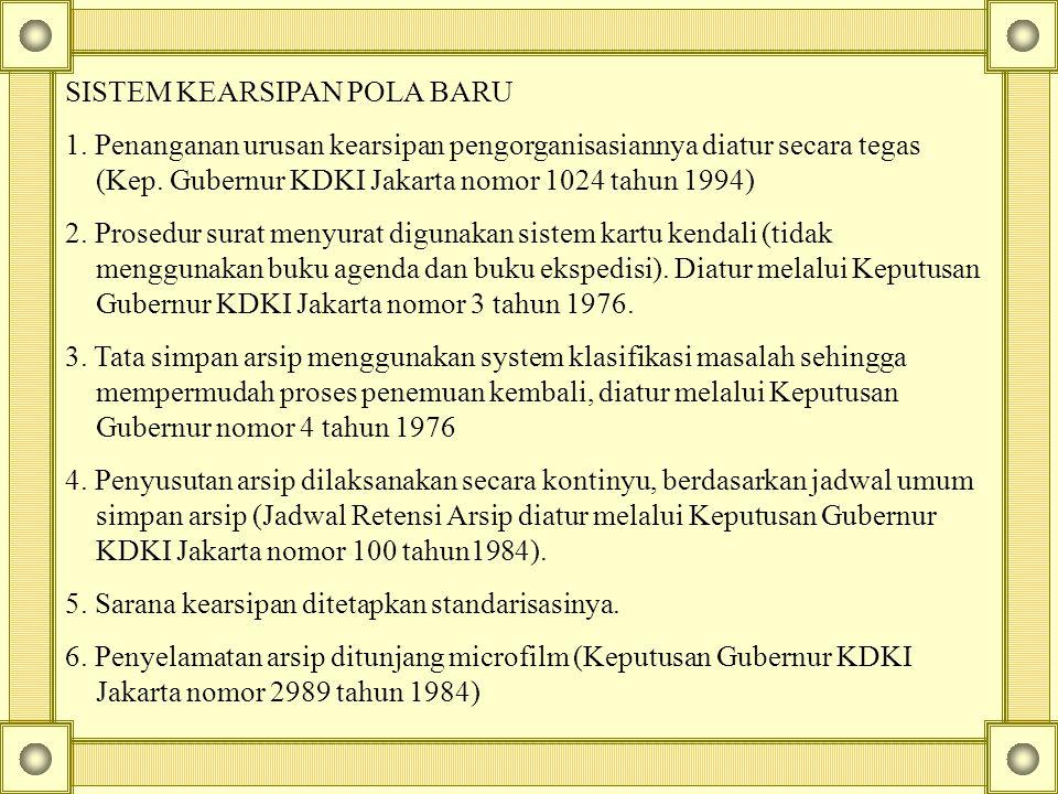 SISTEM KEARSIPAN POLA BARU 1. Penanganan urusan kearsipan pengorganisasiannya diatur secara tegas (Kep. Gubernur KDKI Jakarta nomor 1024 tahun 1994) 2