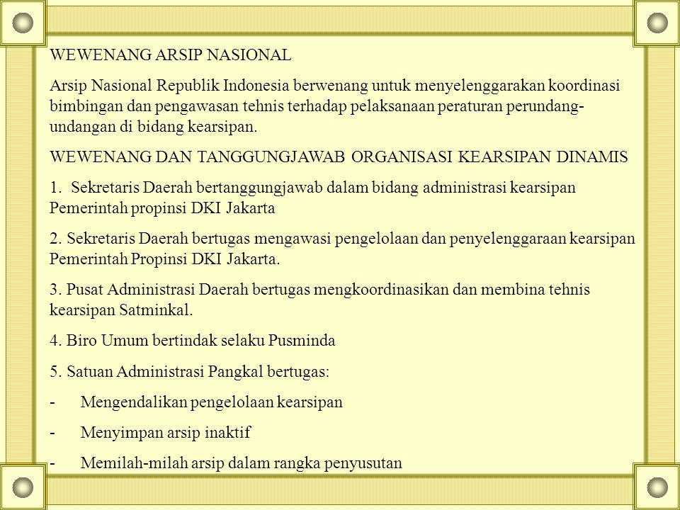 WEWENANG ARSIP NASIONAL Arsip Nasional Republik Indonesia berwenang untuk menyelenggarakan koordinasi bimbingan dan pengawasan tehnis terhadap pelaksa