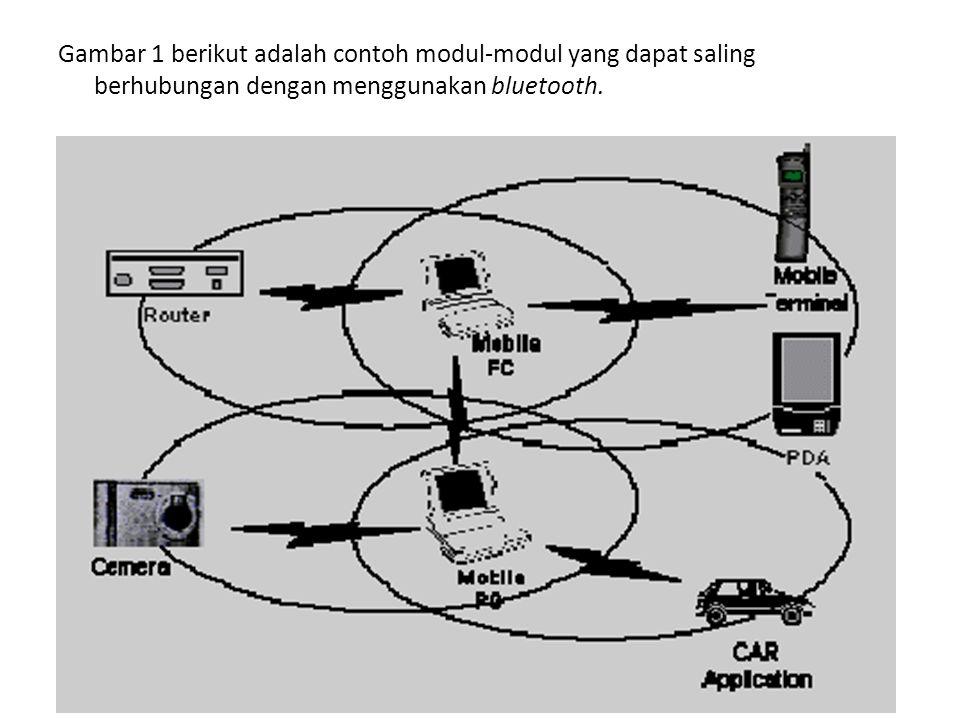 Gambar 1 berikut adalah contoh modul-modul yang dapat saling berhubungan dengan menggunakan bluetooth.