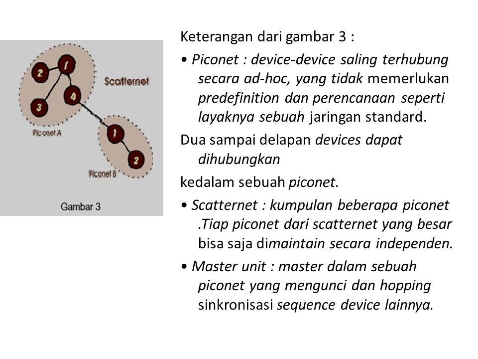 Keterangan dari gambar 3 : Piconet : device-device saling terhubung secara ad-hoc, yang tidak memerlukan predefinition dan perencanaan seperti layaknya sebuah jaringan standard.