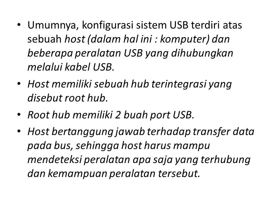 Umumnya, konfigurasi sistem USB terdiri atas sebuah host (dalam hal ini : komputer) dan beberapa peralatan USB yang dihubungkan melalui kabel USB. Hos